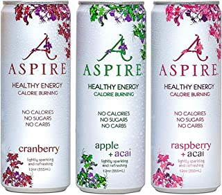 ASPIRE Healthy Energy, Calorie Burning, Zero Calorie, Essential Vitamins, Zero Sugar Drink + Acai Caffeine | 12-Pack Variety Bundle | 4-Each Cranberry, Raspberry, And Apple | No Bull