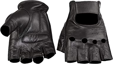 Viking Cycle Men's Premium Leather Half Finger Touch Screen Motorcycle Gloves (Large, Black)
