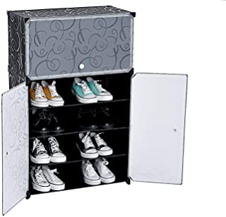 House of Quirk Plastic Shoe Cabinet Storage Organizer with 3 Doors (Black)