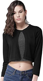 Style Quotient Black Solid Button Crop Shrug-L-Black