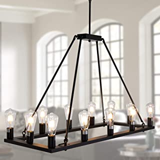 OSAIRUOS Rectangle Vintage Chandelier Kitchen Island Rustic Pendant Wagon W Farmhouse Antique Industrial Chandeliers Ceiling Light Fixture For Dining Living Room Cafe Hallways Entryway 12 Lights W39''
