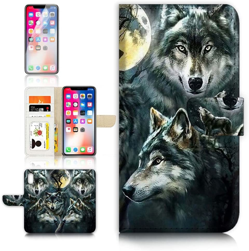 (for iPhone Xs/iPhone X) Flip Wallet Case Cover & Screen Protector Bundle - B31043 Spirit Wolf
