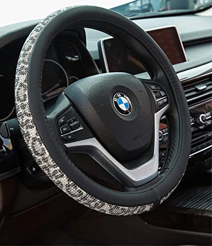 lowest Crystal Diamond outlet online sale Steering Wheel Cover, PU Leather with Colorful Leopard Bling Bling Rhinestones, Universal discount 15inch / 38cm for Women Girls, Beige outlet online sale
