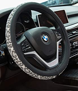 Black Alusbell Bling Bling Rhinestones Steering Wheel Cover for Women Diamand Crystal Steering Wheel Cover with PU Leather Universal Fit 15 Inch