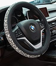 Crystal Diamond Steering Wheel Cover, PU Leather with Colorful Leopard Bling Bling Rhinestones, Universal 15inch / 38cm for Women Girls, Beige