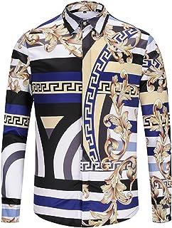 PIZOFF Mens Long Sleeve Luxury Print Dress Shirt