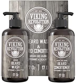 Viking Revolution Beard Wash & Beard Conditioner Set w/Argan & Jojoba Oils – Softens, Smooths & Strengthens Beard Growth -...