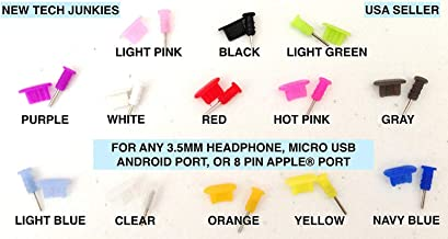 NTJ Port Dust Protector Plugs and 3.5mm Jack Dust Protector Caps for Micro B USB Samsung Galaxy S3, S4, Google Nexus Amazon Kindle Hd HTC Lg G2 Pantech Blackberry Motorola Moto X Sony Experia ZTE Tablets or Any Adroid Smart Phone with Micro Usb (Many Colors to Choose From) (Mixed (10 Pairs))