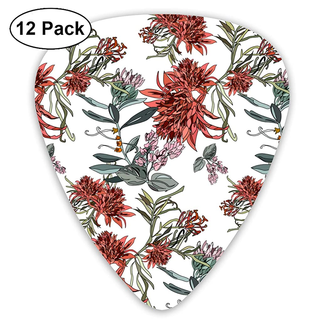 Beautiful Tropical Pattern With Exotic Flowers And Leaves Bendy Ultra Thin 0.46 Med 0.73 Thick 0.96mm 4 Pieces Each Base Prime Plastic Jazz Mandolin Bass Ukelele Guitar Pick Plectrum Display