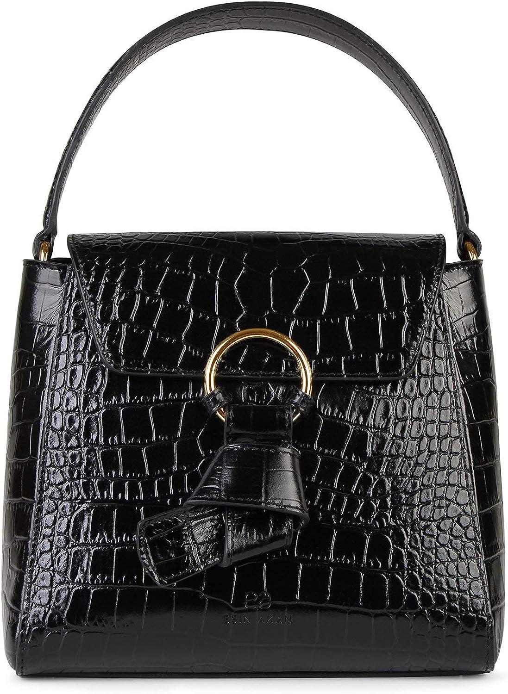 Esin Akan Midi Pimlico Black Croc Top Handle Bag