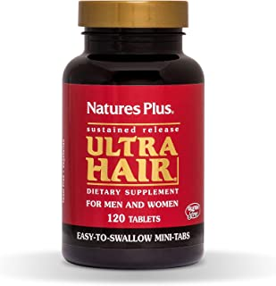 NaturesPlus Ultra Hair, Sustained Release - 120 Easy to Swallow Mini Tablets - Natural Hair Growth for Men & Women Supplement - Longer, Thicker Hair - Vegetarian, Gluten-Free - 30 Servings