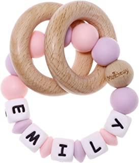 Munchewy Personalized Name Baby Rattle Teether Ring, Customizable Silicone Sensory Chew Bracelet with Natural Organic Beec...