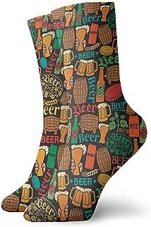 Kevin-Shop, Diseño de patrón de Cerveza Calcetines clásicos de Punto Plano Casual Athletic Stoking Soft