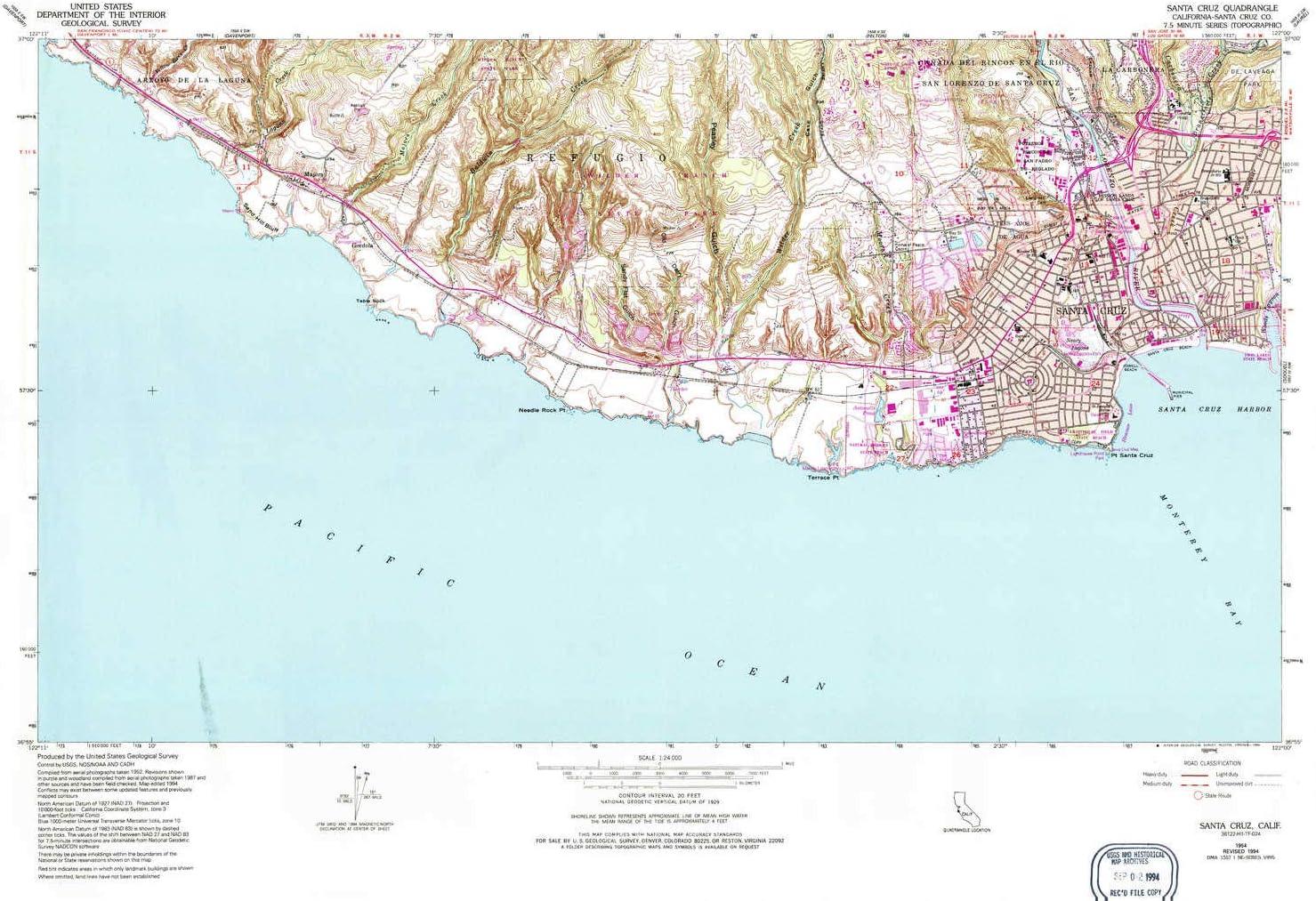 YellowMaps Santa Cruz CA topo map 1:24000 Minu 7.5 Scale X Selling and Free Shipping Cheap Bargain Gift selling