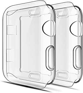 Simpeak Full Protector Case Compatible with iWatch 38mm, [2 Packs] [All-Around] Soft TPU Clear Touch Screen Protector Bump...