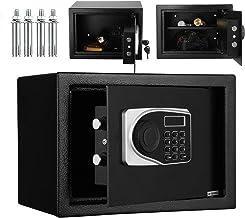 Coffre Fort de Securite Électronique 35×25×25cm, Coffre-Fort Numérique avec Clavier et Verrouillage par clé, Noir 16L