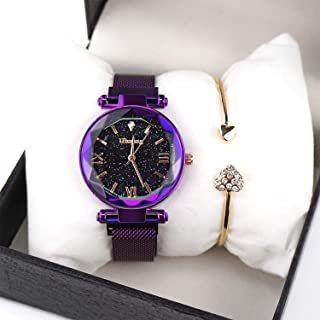 Luxury Quartz Starry Sky Dial Ladies Wrist Watches,Magnetic Mesh Band Watch and Bracelet Set-Valentine's Day Gifts