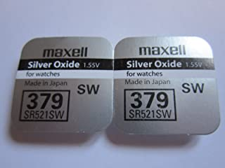 2 x MAXELL SR521SW 379 SR521 SW 1.55v Silver Oxide Button Cell Watch Battery - Official Genuine Maxell