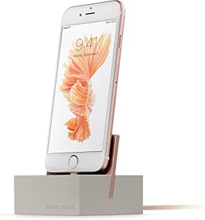 Native Union Dock+ Weighted Charging Dock with [Apple MFi Certified] Reinforced Lightning Cable for iPhone/iPad (Stone)