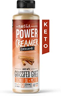 Omega PowerCreamer - Cinnamon Keto Coffee Creamer with MCT Oil - with Grass-fed Ghee, Organic Coconut Oil, Stevia - Liquid Butter Blend - Paleo, Ketogenic, Sugar Free, 10 fl oz (20 servings)