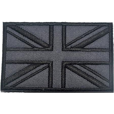 British Union Jack Embroidered Applique England Flag UK Great Britain Sew On Patch Union Jack British Flag Badge for Uniform Clothing Jacket Shirt (Gray)