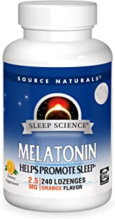 Source Naturals Sleep Science Melatonin 2.5 mg Orange Flavor - Helps Promote Sleep - 240 Lozenge Tablets