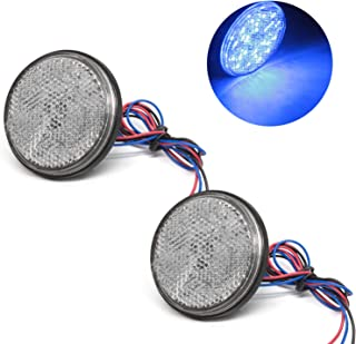 Motorcycle Turn Signal Light, 12V Round 24SMD Auxiliary Driving Lights for Harley BMW Davidson Heritage Softail Yamaha Suzuki Car Truck LED Reflector Tail Brake Stop Lights(2Pcs-Blue)