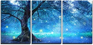 wall26 - 3 Piece Canvas Wall Art - Fairy Tree in Mystic Forest - Modern Home Decor Stretched and Framed Ready to Hang - 24