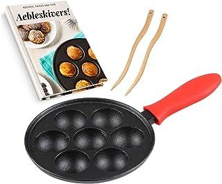 Cast Iron Aebleskiver Pan for Danish Stuffed Pancake Balls by Upstreet (Red)