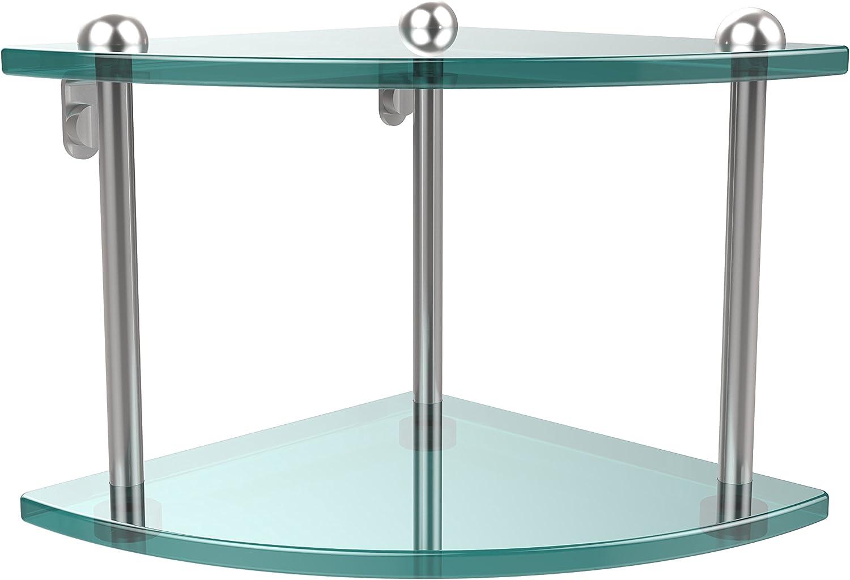 Allied Brass RC-3-SBR Double Corner Glass Shelf Polished Nickel