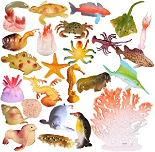 NUOBESTY Ocean Animal Toys Simulation Sea Life Model Marine Animal Figures Kids Bath Toy for Pool Fish Tank Kids Party 26 ...