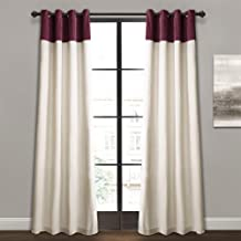 "Lush Decor Milo Linen Window Curtain Panel Pair, 84"" x 52"", Plum & Off-White, Plum"