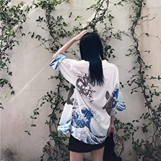 Bestgift Vestito Giapponese Kimono con Cintura e Apertura da Donna
