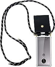 Cadorabo Funda con Cuerda para Motorola Moto G5 Plus en Negro Plata – Cubierta Protección Collar para Colgar di TPU Silicona Transparente con Anillos OROS, Cordon y Estuche Removible