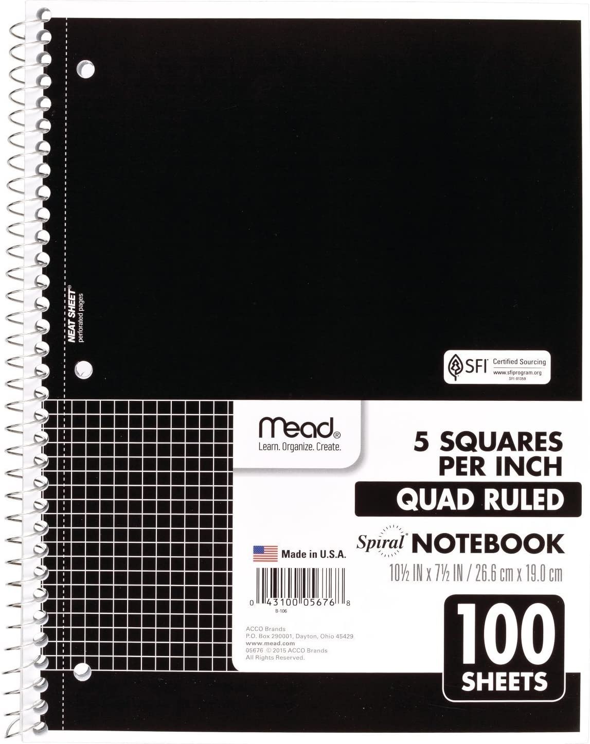 Mead Spiral Notebook, 1 Subject, Quad Ruled, 100 Sheets, Grid Notebook with Engineering Graph Paper, Home Office & Home School Supplies for College Students & K-12, 10-1/2