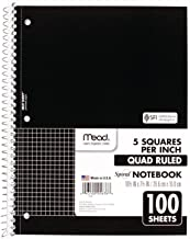 Mead Spiral Notebook, 1 Subject, Quad Ruled, 100 Sheets, 10-1/2