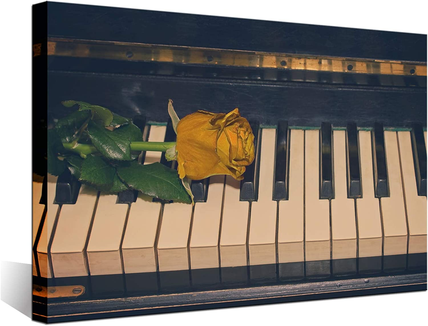 Biuteawal Music Wall Art Gold Rose on Atlanta Mall Sale Piano Flower The Pictures