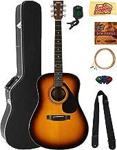 Yamaha F325D Dreadnought Acoustic Guitar - Tobacco Sunburst Bundle with Hard Case, Tuner, Strings, Strap, Picks, Austin Bazaar Instructional DVD, and Polishing Cloth
