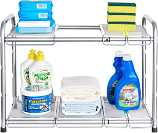 Bextsware Under Sink Shelf Organizer, 2-Tier Storage Rack with Flexible & Expandable 15 to 25 inches for Kitchen Bathroom Cabinet