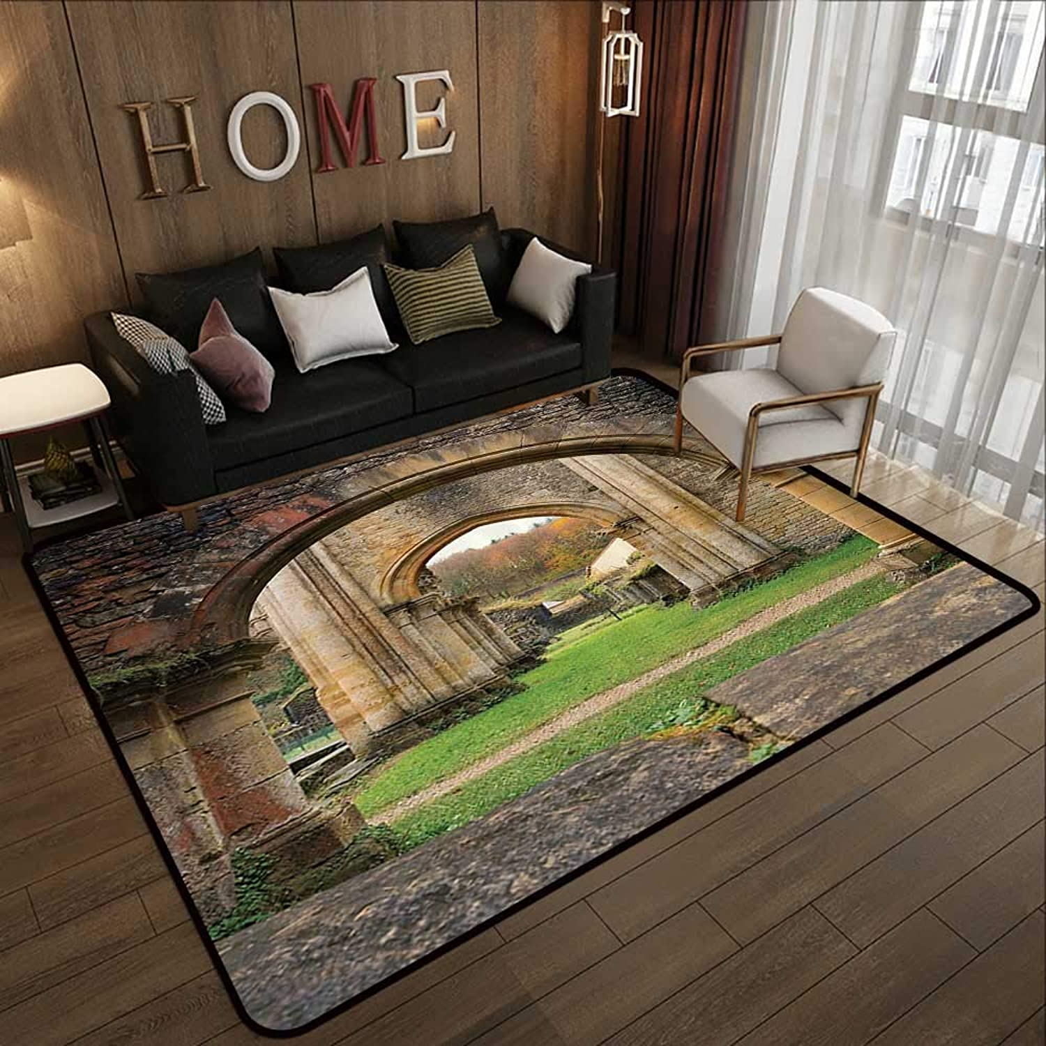 Carpet mat,Antique Decor,Autumn View on The Ancient Ruins of Famous Medieval Century in Belgium,Sand Brown Green 47 x 59  Floor Mat Entrance Doormat