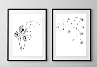 Dandelion Fluff 'Make a Wish' Wall Art Prints - Set of 2-11x14 UNFRAMED, Clean, Minimalist & Modern Black, White and Gray Decor
