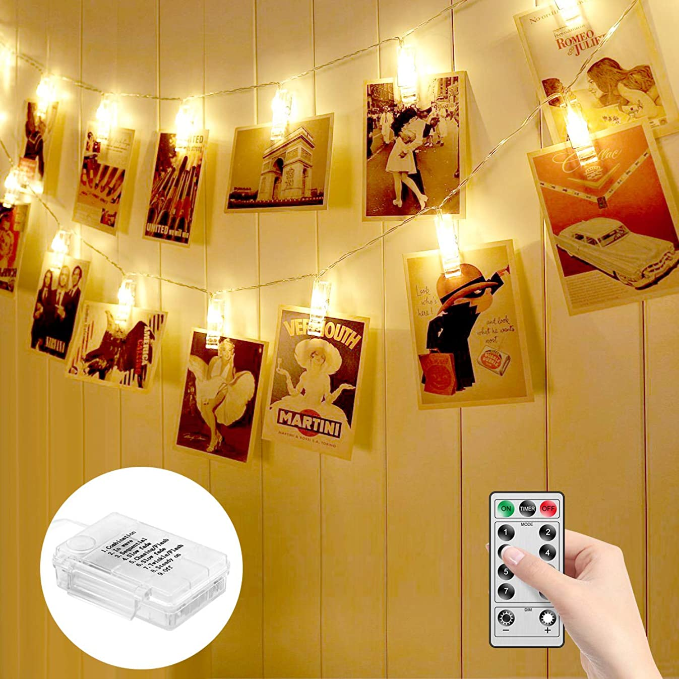 MINGER Photo Clips String Lights Holder, Indoor Fairy Lights for Hanging Pictures and Cards, 20 Clips Ideal Thanksgiving Wall Decorations for Family