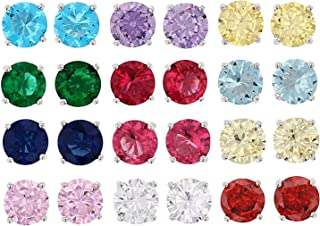 JTV-Multi Color Cubic Zirconia And Simulants Rhodium Over Silver Stud Earring Set Of 12, 15.00ctw