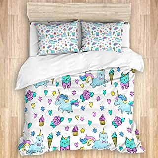 KUDOUXIA Unicorn Cat Girls Pattern with Hearts Stars Flowers Ice Cream Cute Funny Decorative Bedding Set 1 Duvet Cover with 2 Pillow Cases Full/Queen