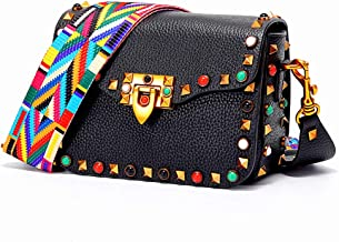 Yoome Mini Crossbody Bag Designer Clutch for Women Rivets Bags with Colorful Strap Cowhide Leather Shoulder Bag For Girls