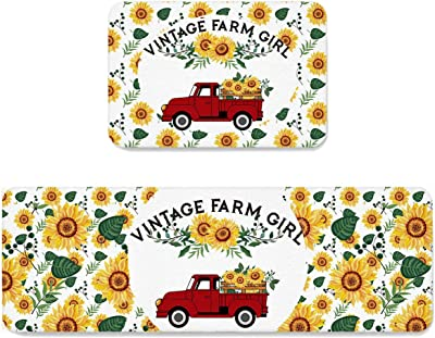 SUN-Shine 2 Piece Kitchen Rug Set, Non-Slip Area Runner Rugs Carpet, Indoor Floor Mat Home Decorative Doormats, Vintage Farm Girl and Red Truck Sunflowers Floral Printed