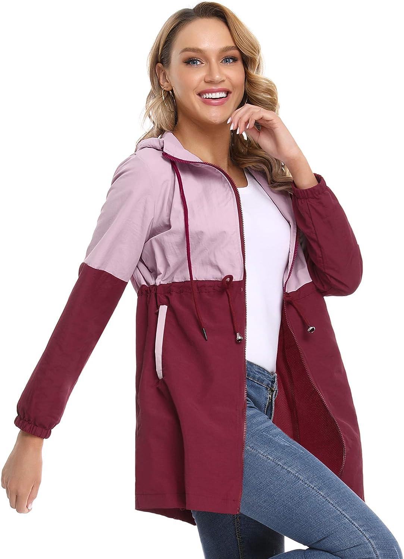 Doaraha Rain Jacket Women Waterproof Hooded Raincoat Lightweight Active Outdoor Windbreaker Jacket S-XXL