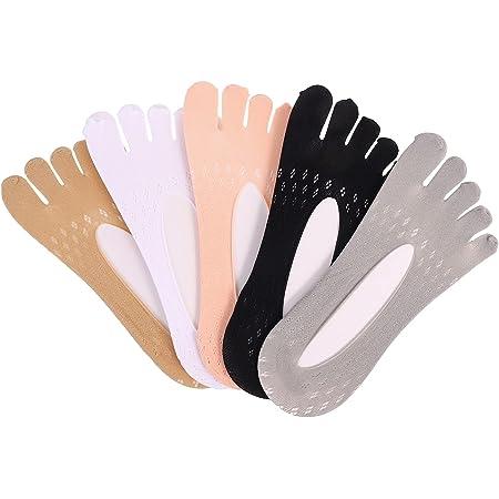 tiopeia 5 Paires de Chaussettes de Compression Orthopédiques pour Femmes Chaussettes à Cinq Doigts Chaussettes Bateau Invisibles Antidérapantes Chaussettes Basses pour Femmes