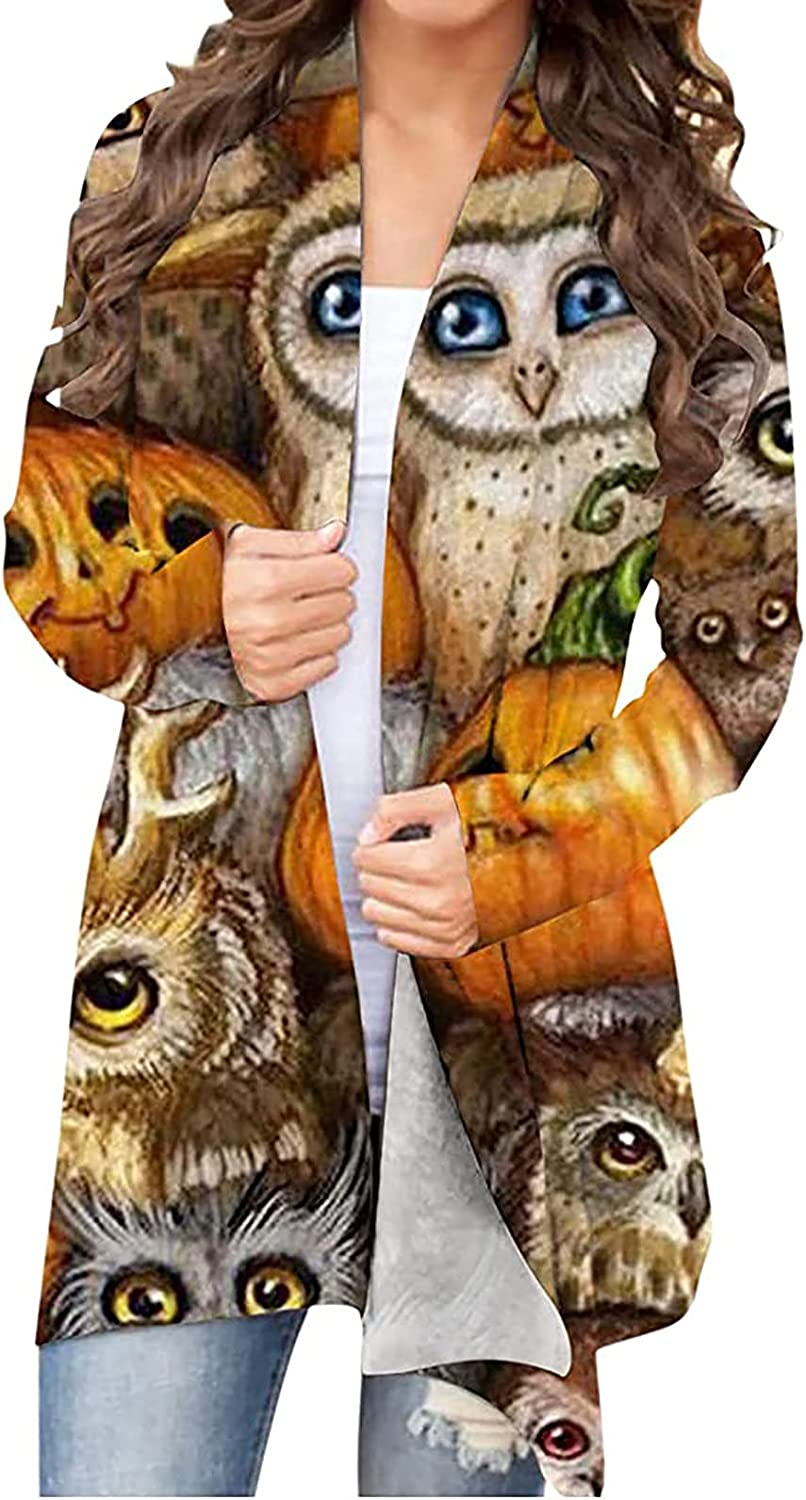 Women Halloween Casual Cardigan Knitted Comfy Lightweight Coat Cute Graphic Print Cardigan Tops