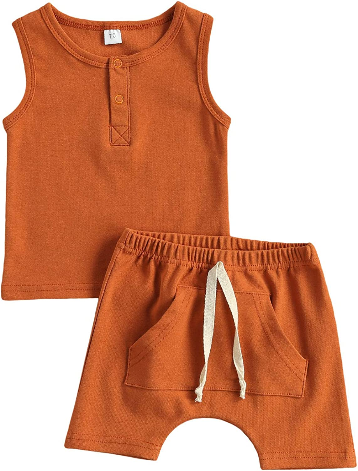Pybcvrrd Infant Baby Boys Short Sets Summer Outfit Sleeveless Tank Top T-Shirt + Shorts Solid 2 Piece Clothes Boys